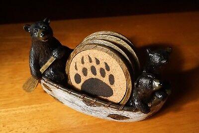 BLACK BEAR PAPA CUBS CANOEING BIRCH CANOE Coaster Set Lodge Cabin Home Decor NEW
