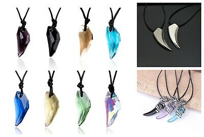 Unisex Wolf Tooth Crystal Fang Canine Metal Pendant Black Leather Rope Necklace - Wolf Pendant