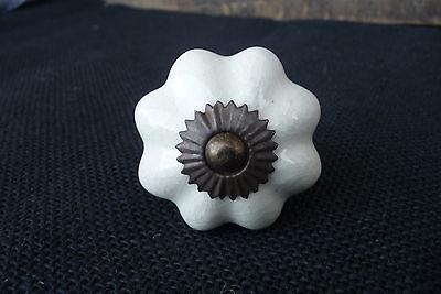 White Crackle Ceramic Scallop Pumpkin DRAWER PULL KNOB w/ Brass base  Home Decor (White Crackle Ceramic)