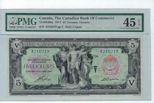 THE CANADIAN BANK OF COMMERCE 1917 $5 PMG 45 EPQ INCREDIBLE NOTE!!!!