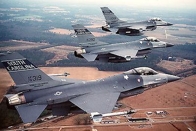 8x12 Photo 3 169th Tactical Fighter Group F-16 aircraft of South Carolina ANG