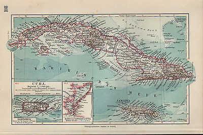 Landkarte map 1912: CUBA. PUERTO RICO. Hafen von Santiago de Cuba. Insel Ozean  ()