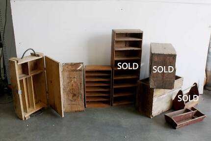 Vintage Antique Wooden Crates Malaga Swan Area Preview