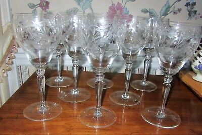 1960s ETCHED CRYSTAL WINE GLASS ELEGANT FLOWER LEAF PATTERN 7.75