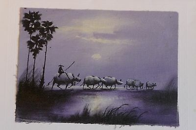 "Scene of Man on Water Buffalo:  5.5"" by 4"" from Vietnam"