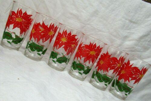 6 vintage Hazel Atlas Glass POINSETTIA tall tumblers Christmas -12 oz. cap,