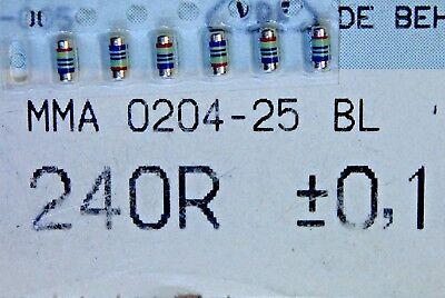 100pcs Resistor 240ohm Minimelf 25ppm 0.1 0.4w Mma0204-25bl 240r Beyschlag