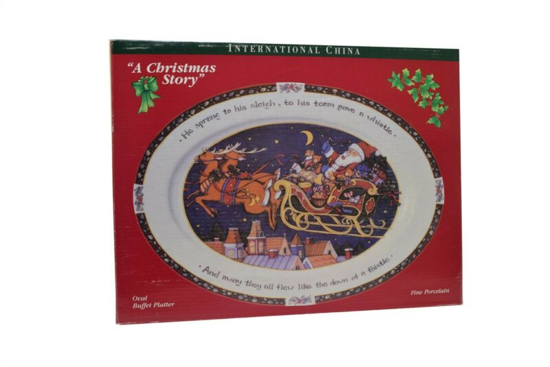"International China A Christmas Story Oval Serving Platter 14.5"""