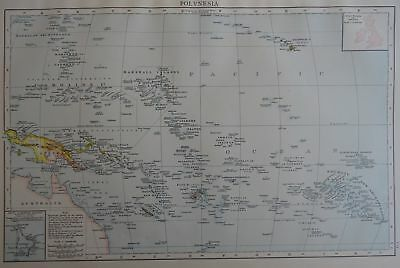 Victorian Map 1896 of POLYNESIA The Times Atlas 1st Gen