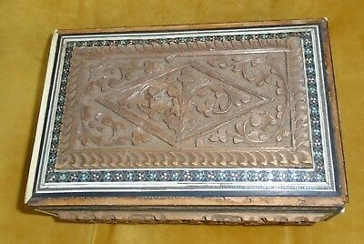 GENUINE ANTIQUE CARVED CEDAR OF LEBANON WITH MOTHER OF PEARL +VINTAGE TRIM   BOX