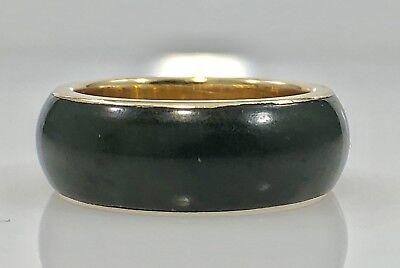 Vintage Genuine Nephrite Jade & 14k Yellow Gold Ring Band, Sz 5.5, New ()