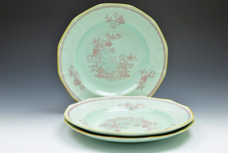 "Adams Calyx Ware Ironstone Metz Robins Egg Blue Floral Dinner Plate 10"" -Qty 3"