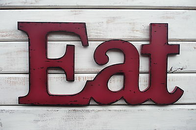 Eat   Red Wood Distressed Letter Kitchen Rustic Urban Farmhouse Sign Wall Decor