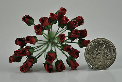 "Mulberry Paper Flower Tiny Rose bud DEEP RED 1/4"" miniature embellishment"
