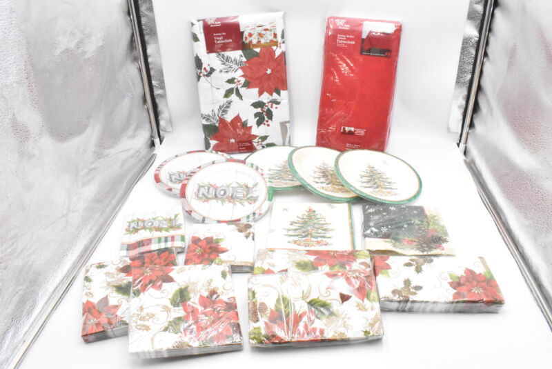 230 PCS Christmas Paper Plates Napkins Vinyl And Fabric Table Cloths for Party