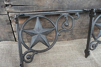 Set of 2 Cast Iron BRACKETS Metal Texas WESTERN STAR Pair Corner Wall Shelf  for sale  Shipping to India