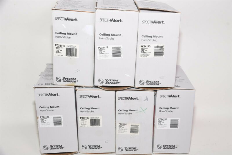 Lot 7 System Sensor SpectAlert PC24115 Fire Alarm Ceiling Horn/Strobe 115cd Red