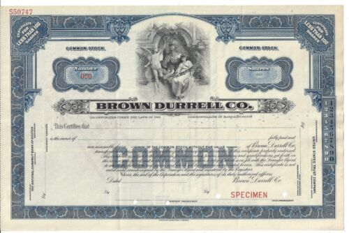 "BROWN DURRELL CO........ABN ""SPECIMEN"" COMMON STOCK CERTIFICATE"