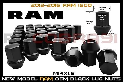 "2012-2016 RAM 1500 M14X1.5 BLACK FACTORY STYLE LUG NUTS 22MM HEX 1.5"" TALL"