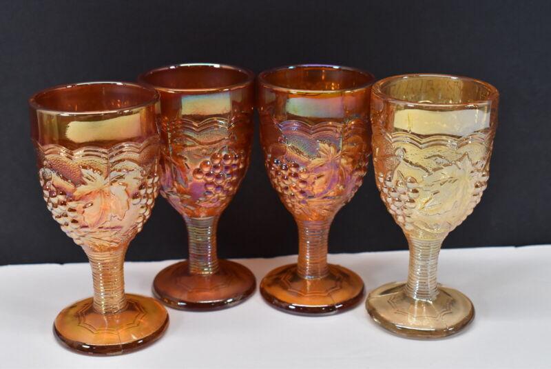 "Lot of 4 Imperial Carnival Glass Grapevine 4"" Cordial Wine Stem Glasses"