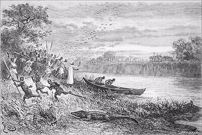 TANZANIA - RUAHA NATIONAL PARK: LAUNCHING of a CANOE on RUAHA - Engraving 19th c