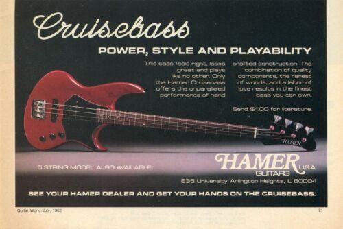 1982 small Print Ad of Hamer Cruisebass Bass Guitar