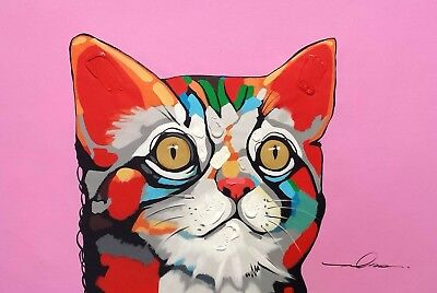 Modern Art,, Cat 24x36,Hand painted on Giclee Canvas, Canvas only