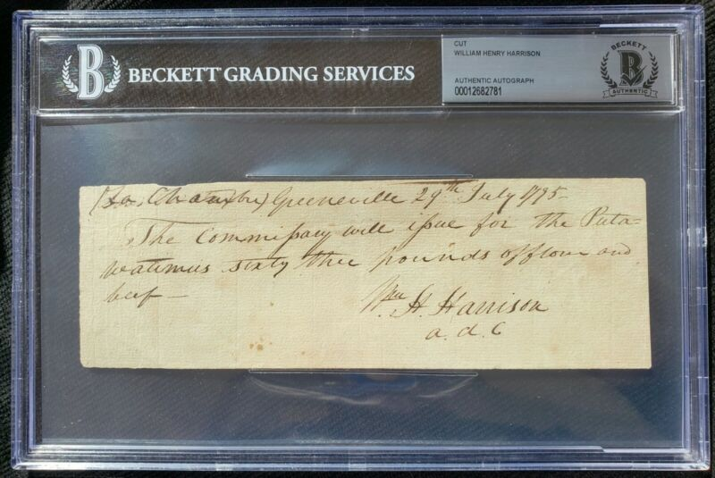 WILLIAM HENRY HARRISON PRESIDENT SIGNED AUTOGRAPH BECKETT BAS AUTHENTIC!