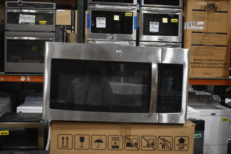 GE 1.6 Cu. Ft. Over-the-Range Microwave Stainless Steel with Black Accents JVM3160RFSS