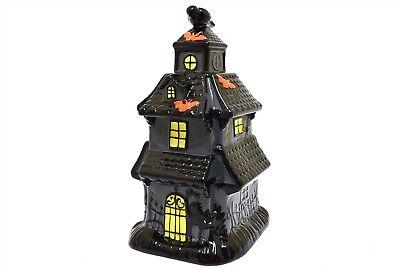 Pier 1 Halloween Cookie Jar Haunted House Mansion Crow Black Cat NEW