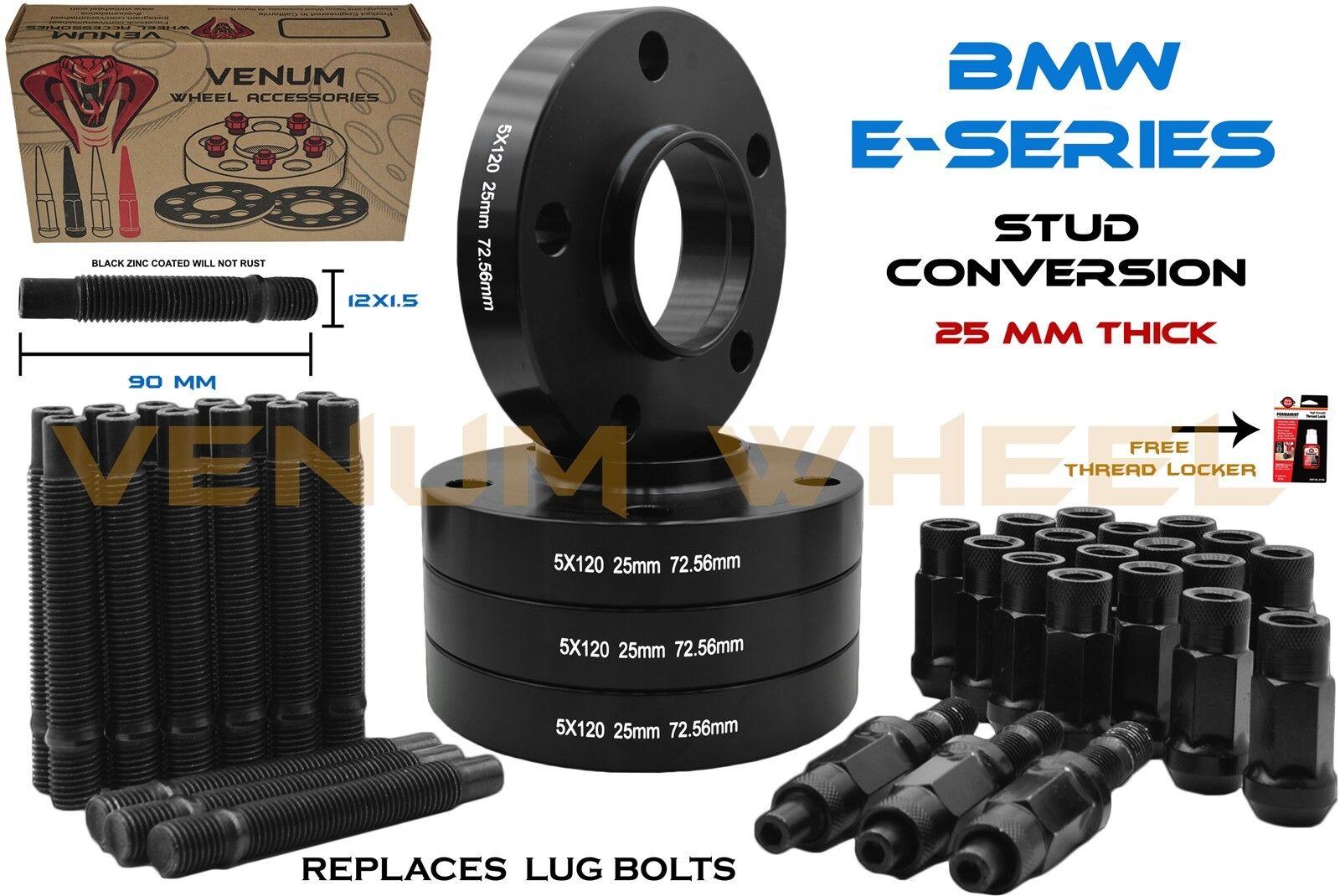 25 fit BMW M3 E36 E46 20 Wheel Stud Conversion kit Chrome Open Nuts 90mm