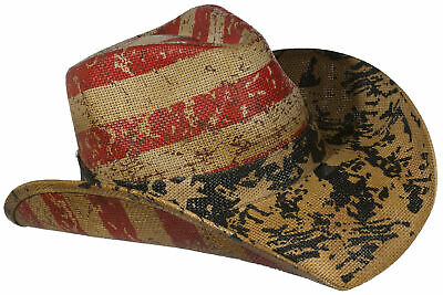 Tan Western Toyo Straw Distressed USA Flag Cowboy Hat w/ Elastic Headband Distressed Straw Cowboy Hat