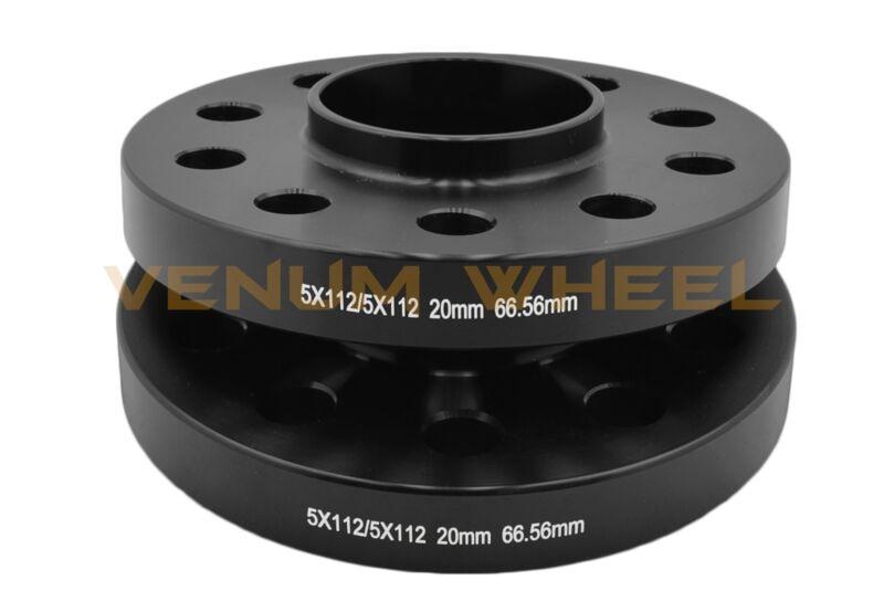 4 12mm Hub Centric Wheel Spacers 5x112 Mercedes 12x1.5 Black Lug Bolts 66.56 CB