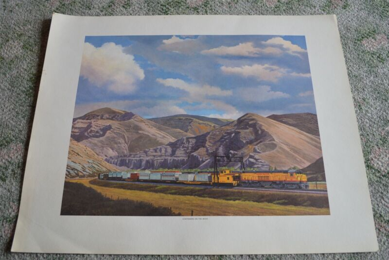 """Vintage Union Pacific Railroad Freight Train Poster """"Containers on the Move"""""""