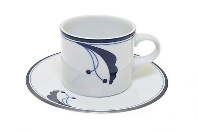 Dansk Flora Bayberry Blue White Cup and Saucer Small  Blue Flora Cup