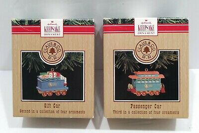 1991 Hallmark Train Ornaments - set of 2 - Passenger Car and Gift Card With Box