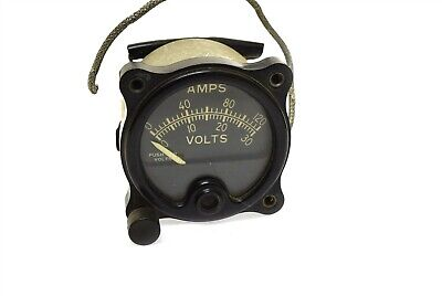Vintage Weston Meter Amps Volts W Push Button Panel Mount Aero Type A-120
