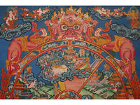 Große buddhistische Gebetsfahne Nepal  95x75//100cm Gebetsfahnen Buddha 1+5 Fahne