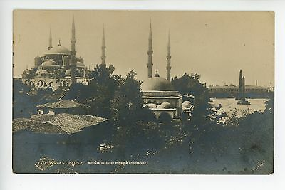 (Constantinople RPPC Sultan Ahmed Mosque & Hippodrome TURKEY Antique Photo JLC)