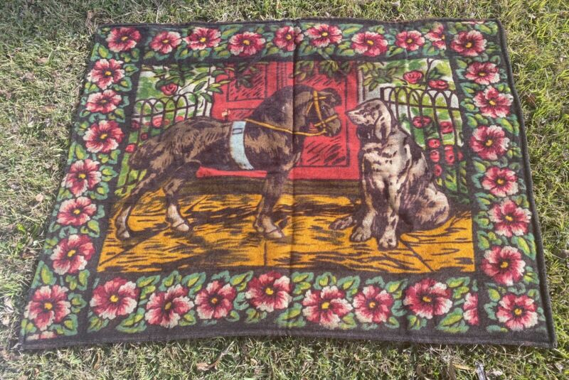 Antique Stroock Blanket Carriage Horse and Dog Glass Eye Beads 1900s Horse Hair