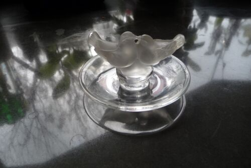 lalique bird pin dish acid etched