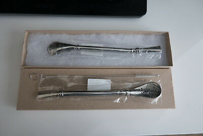 Brushed Stainless Steel Spoon - Yerba Mate Bombilla Filtered Spoon 2X Straw Stainless Steel in Box w/ Brush