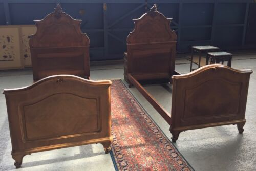 Antique Pair of Carved French Twin Beds