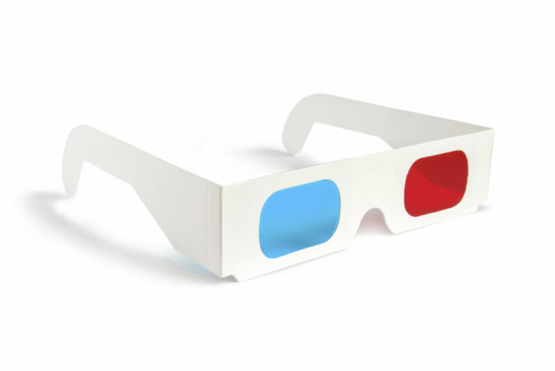 2 PAIRS 3D GLASSES Red Blue Paper Cardboard #AA8 Free Shipping