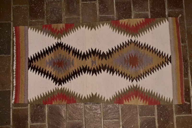 """Mid Century Native Navajo Woven Eye Dazzler Multicolor Rug 37.5"""" x 19.5"""""""
