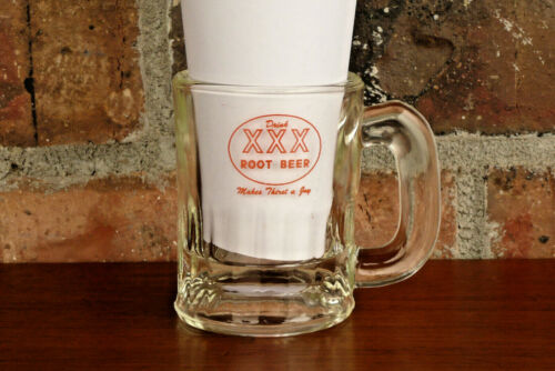 "Old Vintage Triple XXX Root Beer Glass Baby Mug ~ ""Makes Thirst A Joy"""