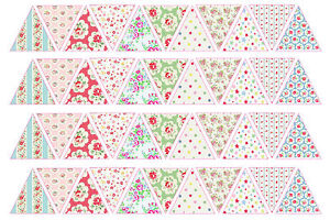 EDIBLE BUNTING FLAGS VINTAGE SHABBY CHIC FLORAL CATH KIDSTON ICING CAKE TOPPERS