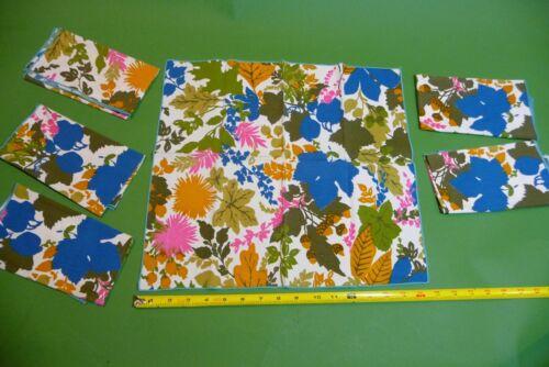 6 Vintage Placemats Mod Look Multi Color Leaves LinenKitchen Table Plate Mats