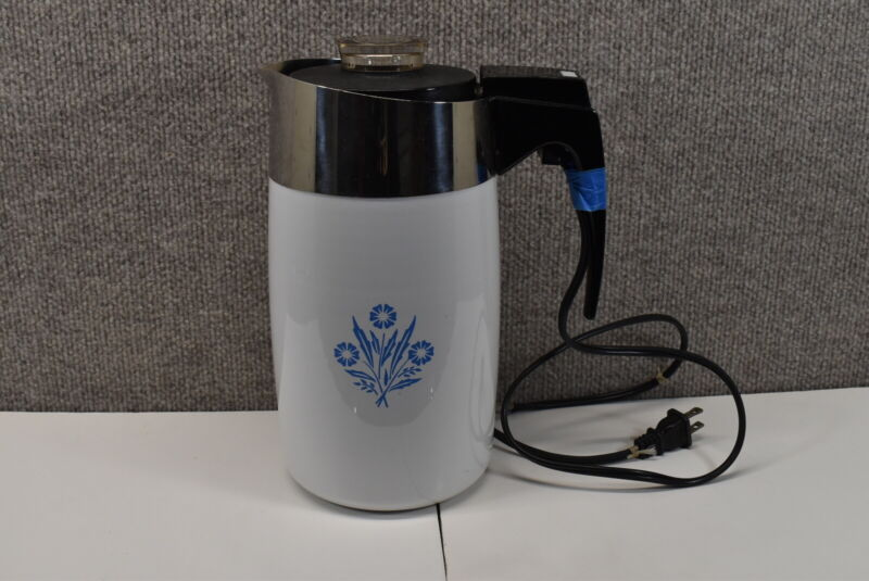 VTG Corning Ware Blue Cornflower 10 Cup Electric Percolator Coffee Pot