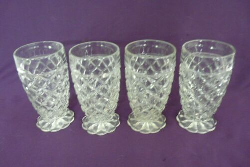 4 Anchor Hocking Glass WATERFORD Waffle Clear 10 oz.Tumblers Depression 5 1/4""